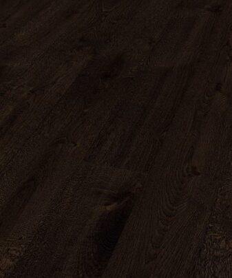 Parkett Saga Exclusive Eik Dark Amber 1 stav. Nærbilde.