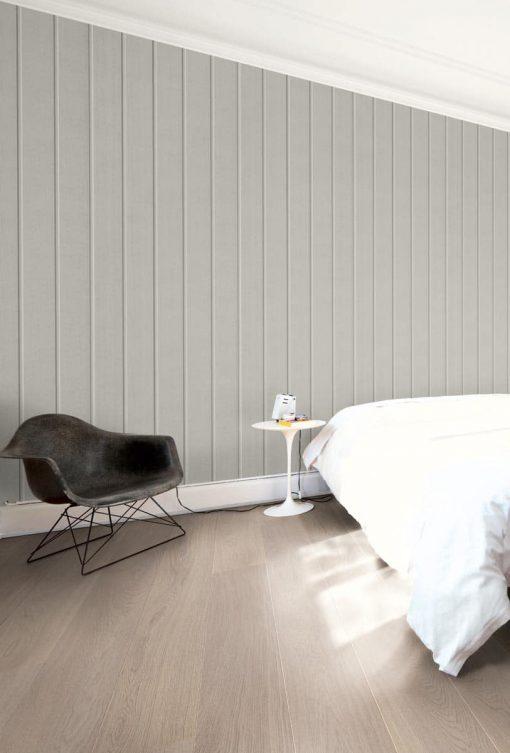 Parkett Saga Premium Eik Platinum 1 stav. Foto av parkett på soverom.