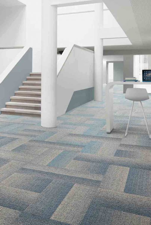 Desso Teppefliser Fuse Create i blått og grått.